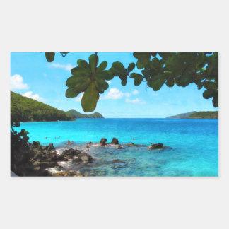 Peaceful Beach St Thomas Rectangle Stickers
