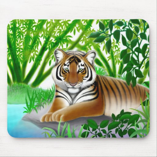Peaceful Bengal Tiger in Bamboo Forest Mouse Pad