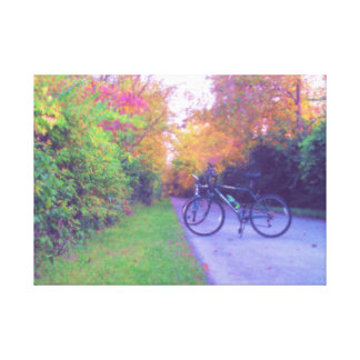 Peaceful Bicycle Ride in Pastels Wrapped Canvas