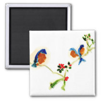 Peaceful birds on a branch magnet