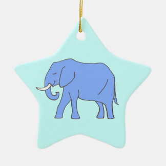 Peaceful Blue Elephant Walking Double-Sided Star Ceramic Christmas Ornament
