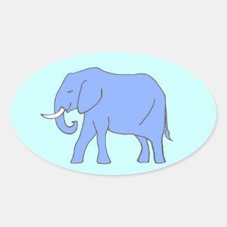 Peaceful Blue Elephant Walking Oval Sticker