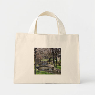 Peaceful bridge landscape bag tote