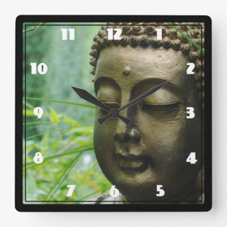 Peaceful Buddha Statue in a Leafy Green Forest Square Wallclock