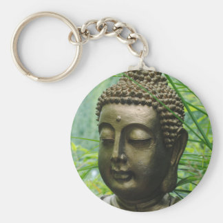 Peaceful Buddha Statue in a Leafy Green Forest Basic Round Button Keychain