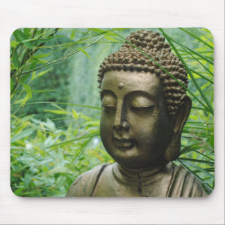 Peaceful Buddha Statue in a Leafy Green Forest Mouse Pad