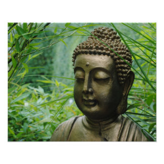 Peaceful Buddha Statue in a Leafy Green Forest Poster