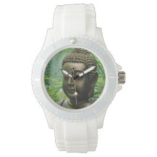 Peaceful Buddha Statue in a Leafy Green Forest Wrist Watch