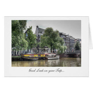 Peaceful Canal Scene - Good Luck on Your Trip Greeting Card