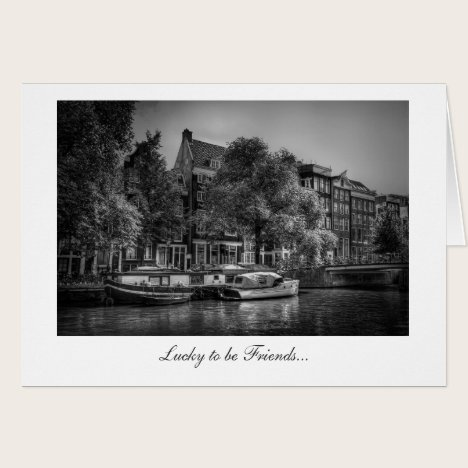 Peaceful Canal Scene - Lucky to be Friends Card