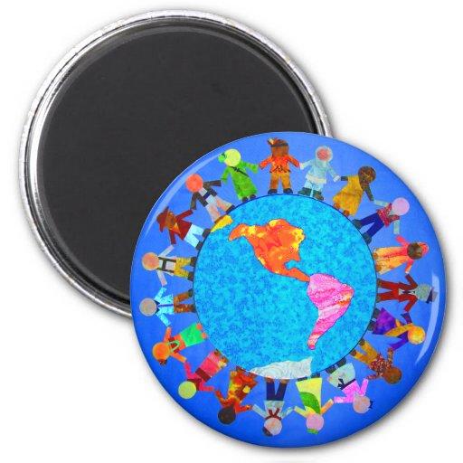 Peaceful Children 2 Inch Round Magnet