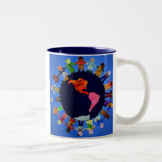 Peaceful Children around the World Blue Accent Mug
