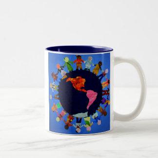 Peaceful Children around the World Blue Accent Mug
