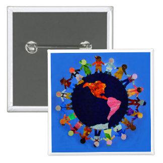 Peaceful Children around the World Button