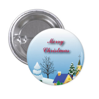 Peaceful Christmas Church 1 Inch Round Button