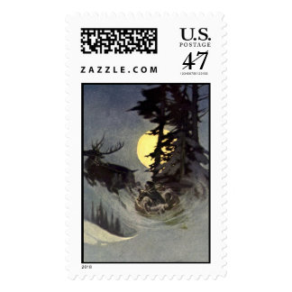 Peaceful Christmas eve with full moon Postage