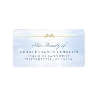 Peaceful Clouds Blue Gold Sympathy Address Labels