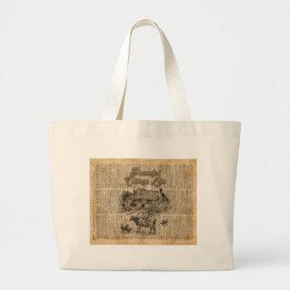Peaceful Cottage Life Vintage Dictionary Art Large Tote Bag