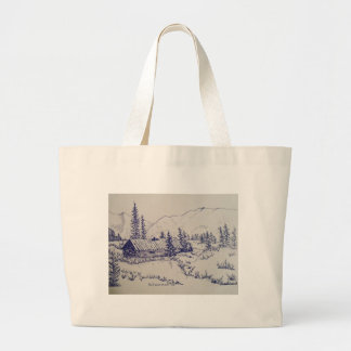 Peaceful Cottage of the Backwoods Large Tote Bag