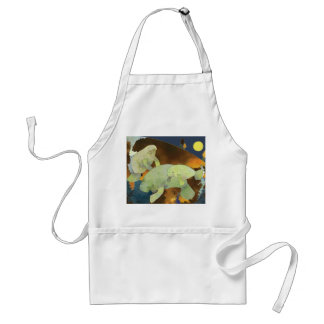 Peaceful Cute Manatee Family Adult Apron