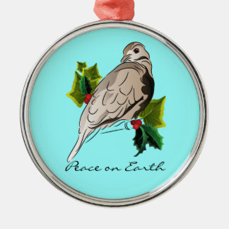 Peaceful Dove with holly and Ivy Christmas Metal Ornament