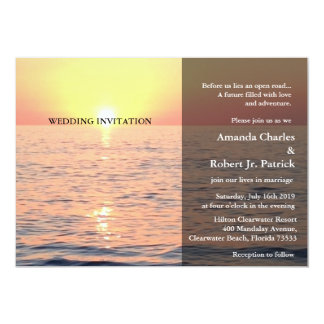 "Peaceful Elegant Beach Sunset Wedding Invitation 5"" X 7"" Invitation Card"