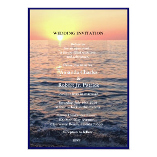 Peaceful Elegant Beach Sunset Wedding Invitation