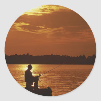 Peaceful Evening Angler Round Stickers