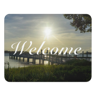 Peaceful Evening At Cooper River Door Sign