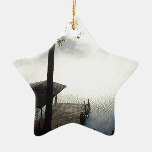Peaceful Foggy Lake Christmas Tree Ornaments