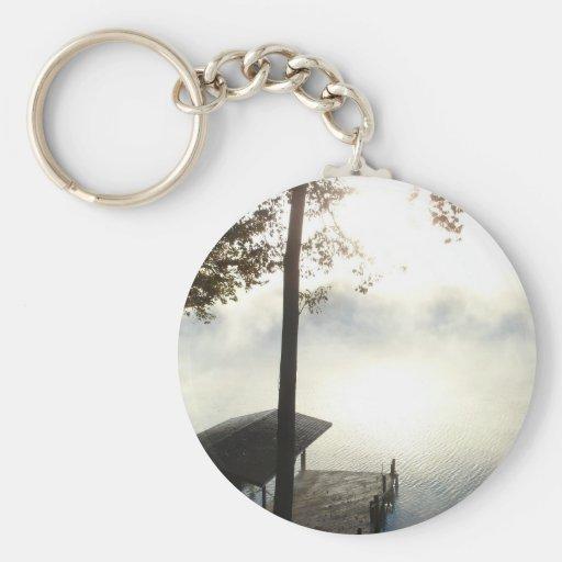 Peaceful Foggy Lake Keychain