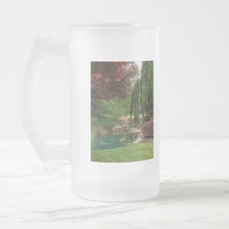 Peaceful Garden Frosted Glass Beer Mug