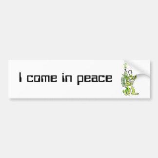 """Peaceful"" Green Alien Bumper Sticker"