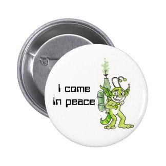 """""""Peaceful"""" Green Alien Button"""