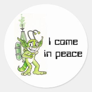 """""""Peaceful"""" Green Alien Stickers"""