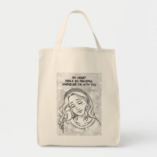 Peaceful heart grocery tote bag