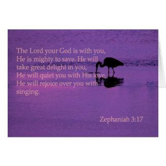 peaceful heron with zephaniah 3:17 greeting cards