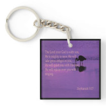 peaceful heron with Zephaniah 3:17 key fob Keychain