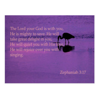 peaceful heron with Zephaniah 3:17 Postcard