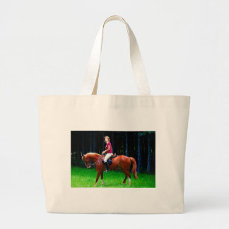 Peaceful horse in the forest jumbo tote bag
