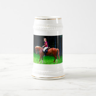 Peaceful horse in the forest beer stein