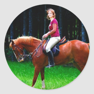 Peaceful horse in the forest classic round sticker