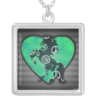 Peaceful Horse! Square Pendant Necklace