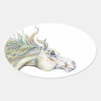 Peaceful Horse Oval Sticker