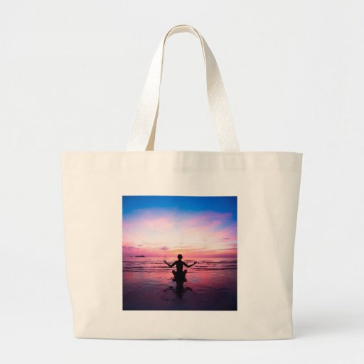 peaceful lady at sunset canvas bags