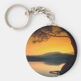 Peaceful Lake Sunset Basic Round Button Keychain