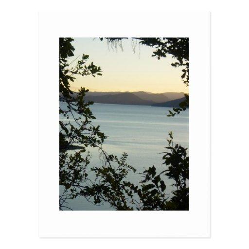 peaceful lake Waikaramoana with maori prayer. Post Card