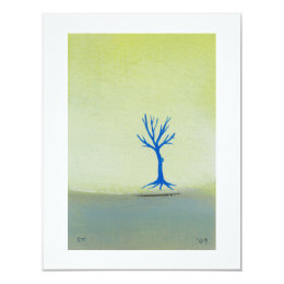 Peaceful landscape art hovering tree painting card