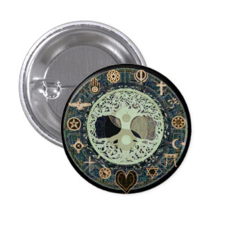 Peaceful Living Retro Yin Yang w/Tree of Life 1 Inch Round Button