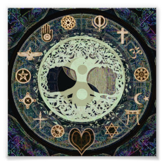 Peaceful Living Retro Yin Yang w/Tree of Life Photo Print
